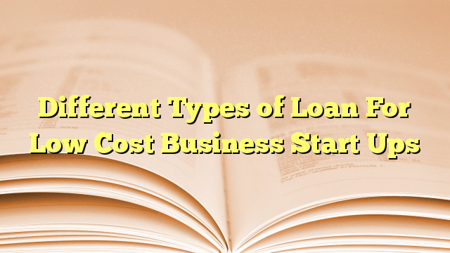 Different Types of Loan For Low Cost Business Start Ups