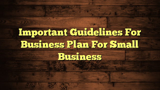 Important Guidelines For Business Plan For Small Business